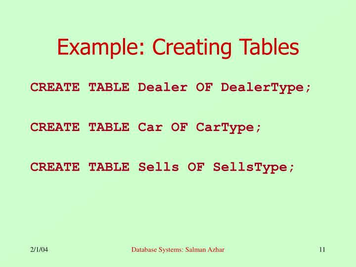 Example: Creating Tables