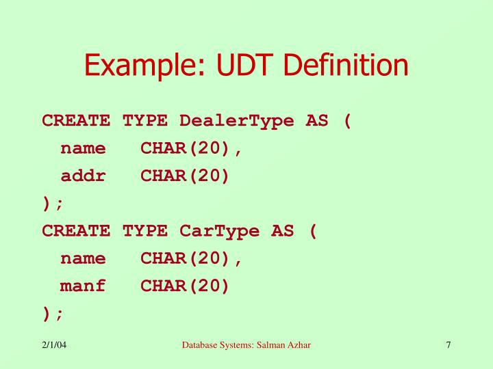 Example: UDT Definition