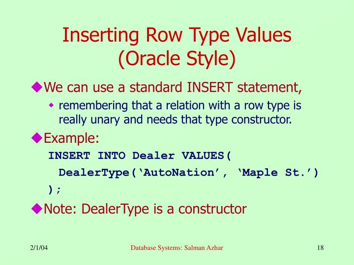 Inserting Row Type Values