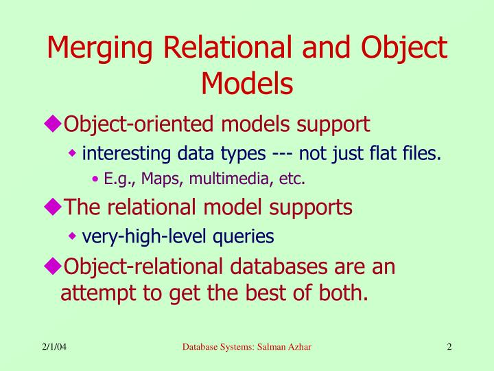 Merging relational and object models