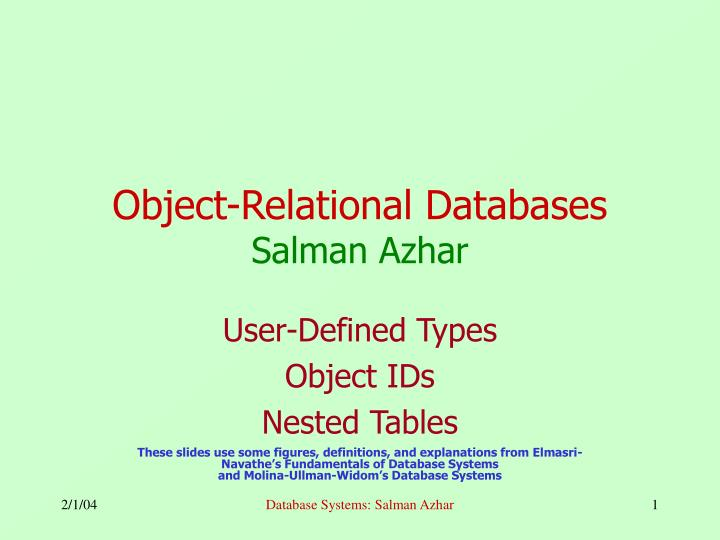 Object relational databases salman azhar