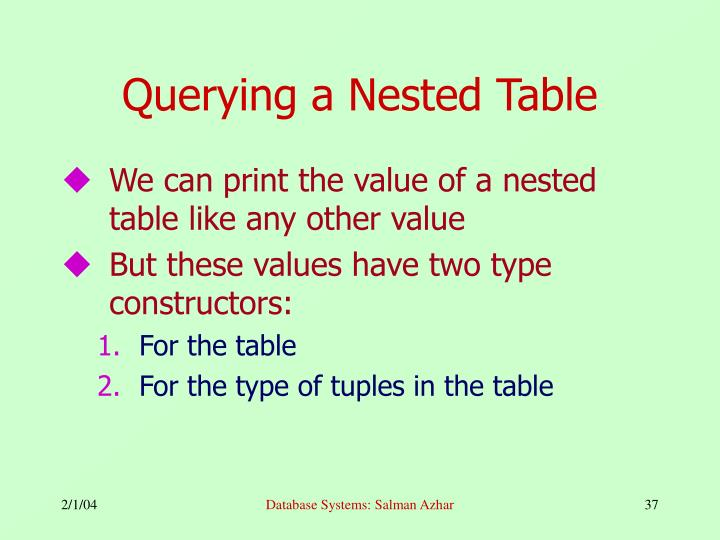Querying a Nested Table