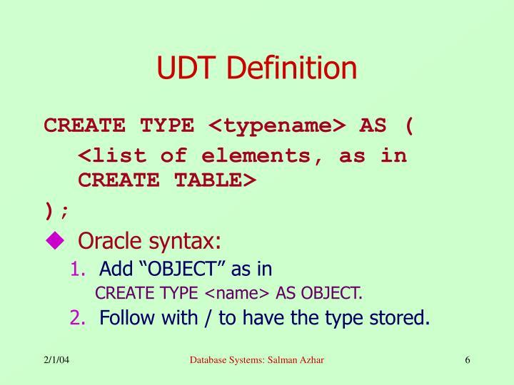 UDT Definition