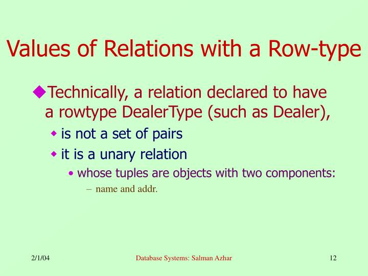 Values of Relations with a Row-type
