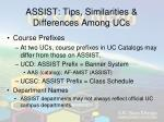 assist tips similarities differences among ucs1