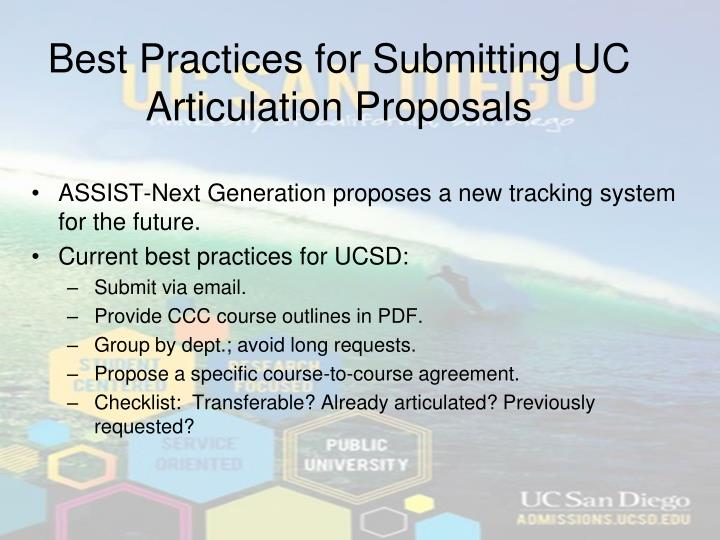 Best Practices for Submitting UC Articulation Proposals