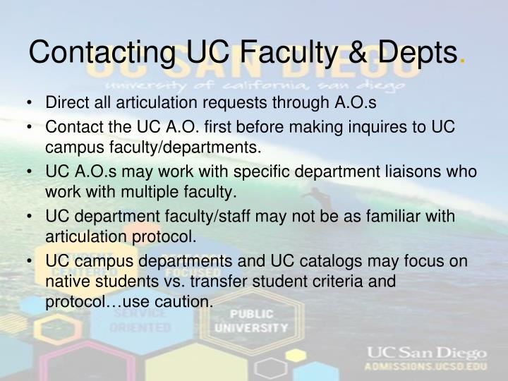 Contacting UC Faculty & Depts
