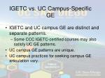 igetc vs uc campus specific ge