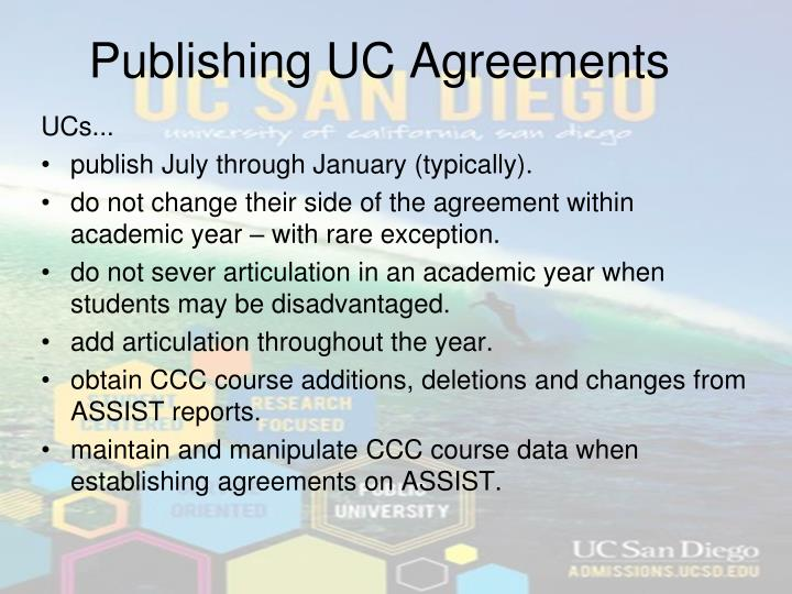 Publishing UC Agreements