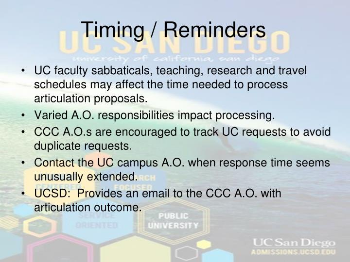 Timing / Reminders