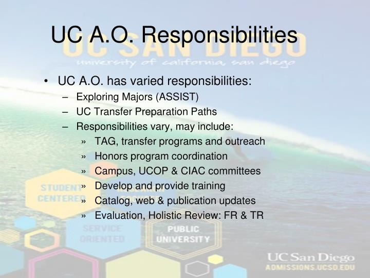 UC A.O. Responsibilities