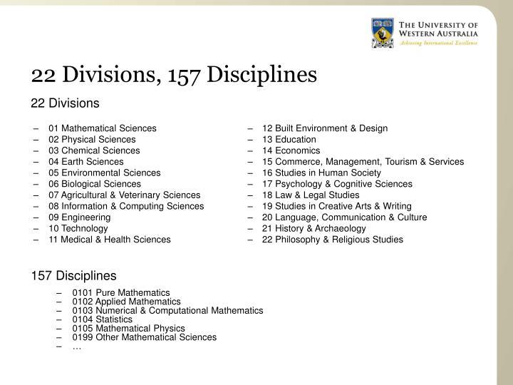 22 Divisions, 157 Disciplines