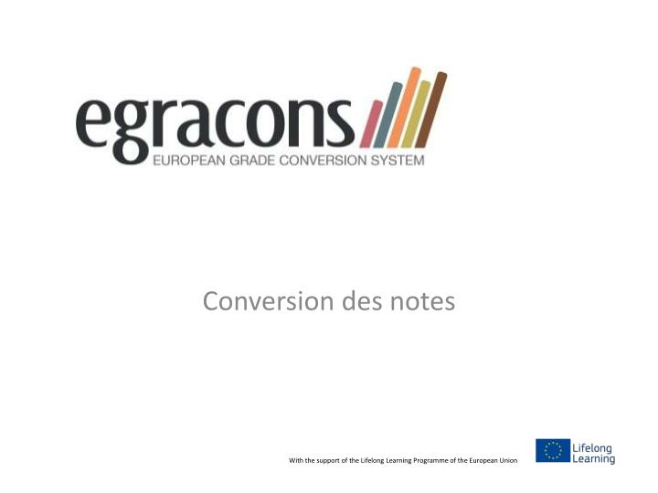 Conversion des notes