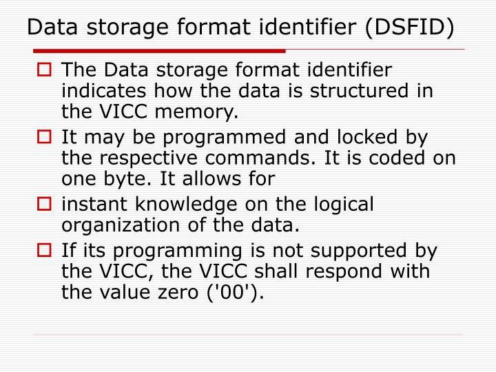 Data storage format identifier (DSFID)