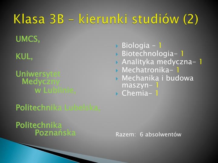 Klasa 3B – kierunki studiów (2)