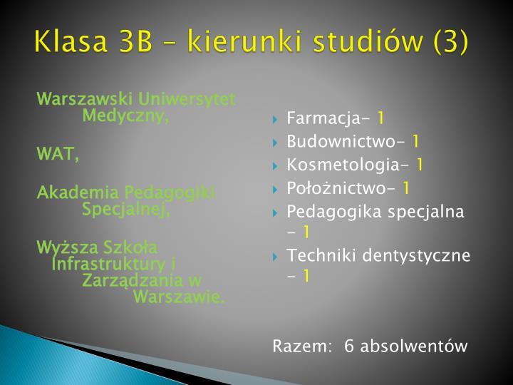 Klasa 3B – kierunki studiów (3)