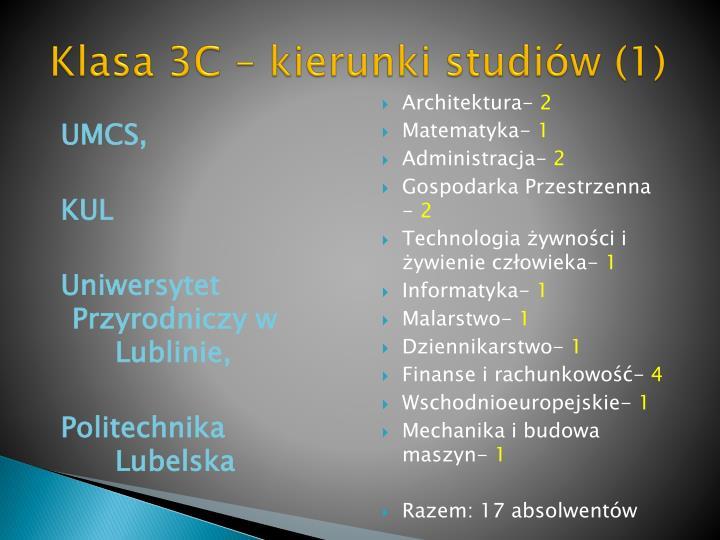 Klasa 3C – kierunki studiów (1)