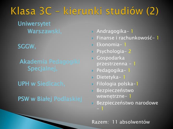 Klasa 3C – kierunki studiów (2)
