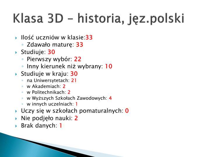Klasa 3D – historia,