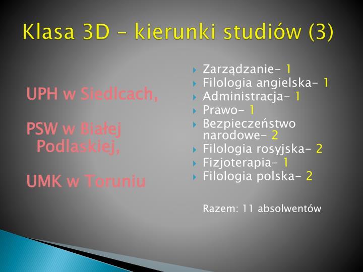 Klasa 3D – kierunki studiów (3)