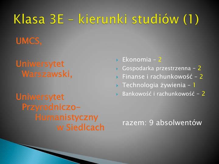 Klasa 3E – kierunki studiów (1)