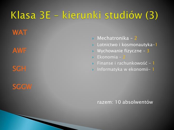 Klasa 3E – kierunki studiów (3)