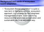 background and needs of ecosystem based adaptation