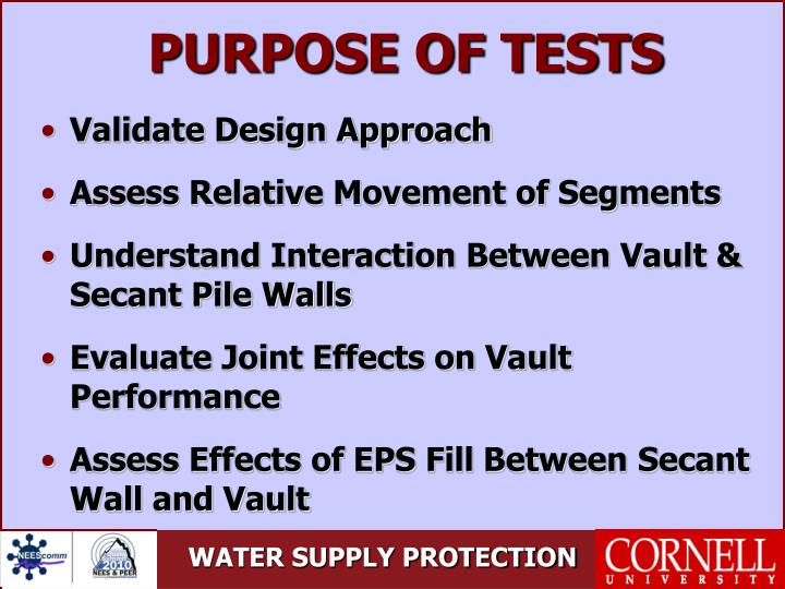 PURPOSE OF TESTS