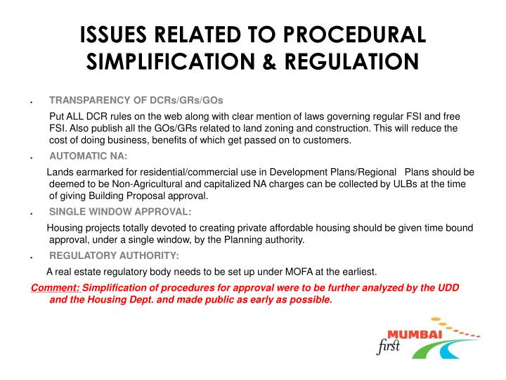 ISSUES RELATED TO PROCEDURAL SIMPLIFICATION & REGULATION