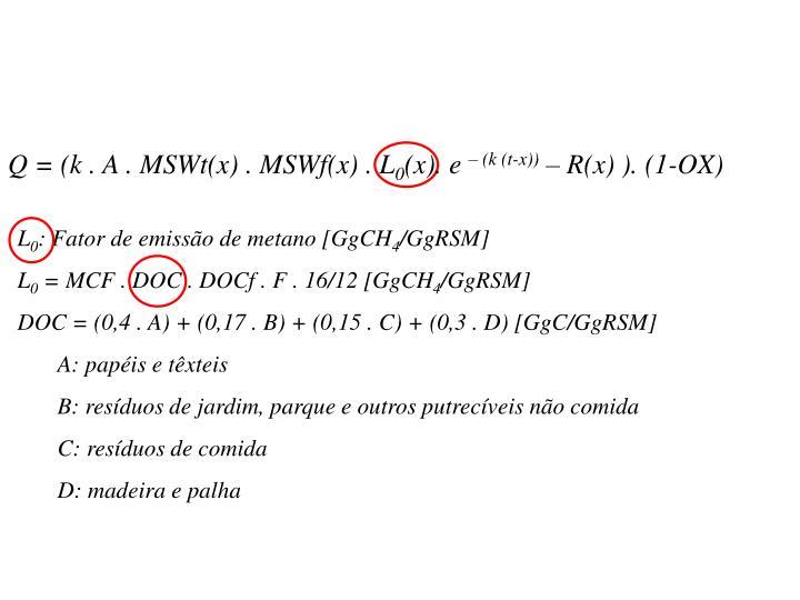 Q = (k . A . MSWt(x) . MSWf(x) . L