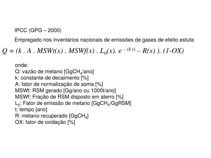IPCC (GPG – 2000)