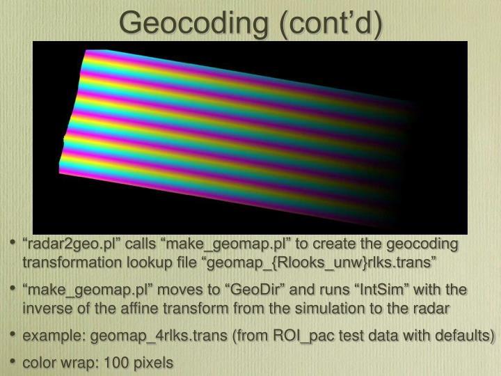 Geocoding (cont'd)