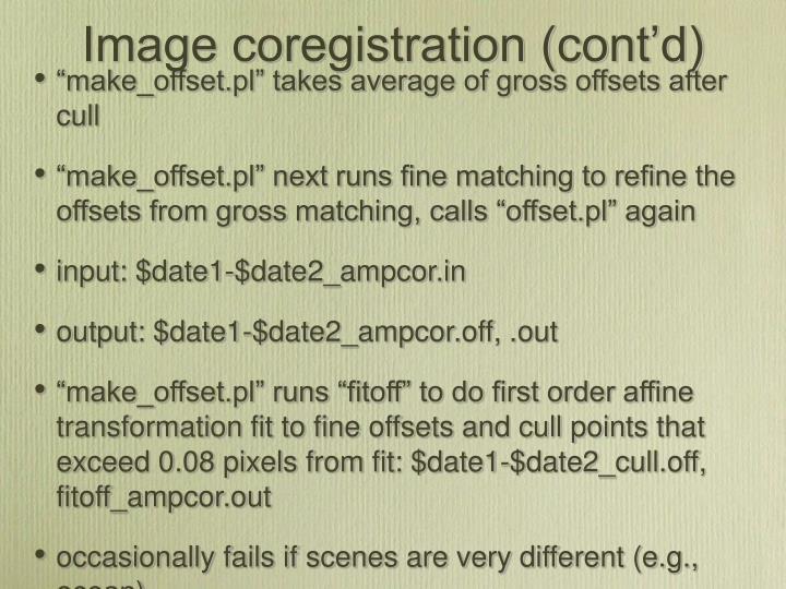 Image coregistration (cont'd)