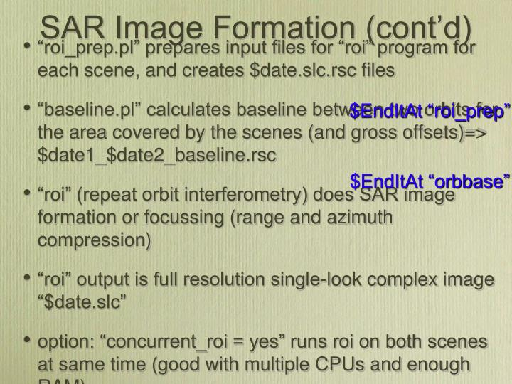 SAR Image Formation (cont'd)