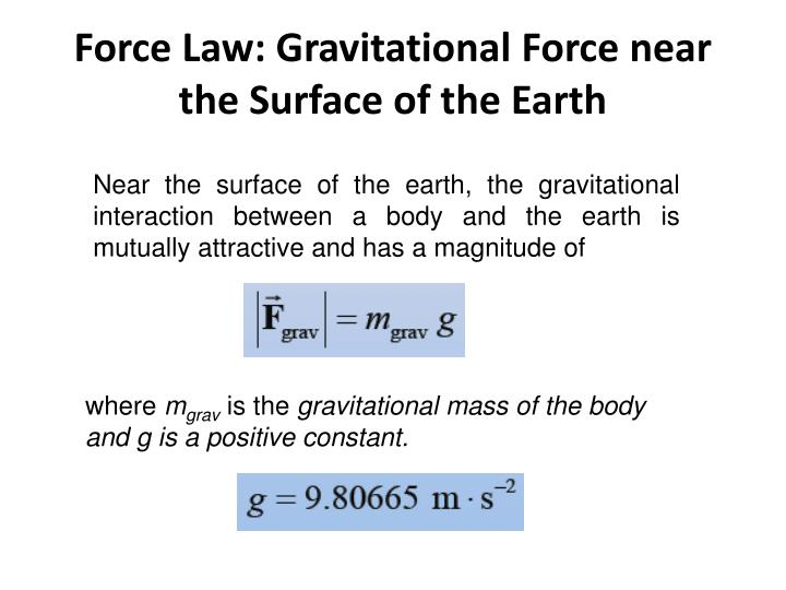 Force Law: Gravitational Force near the Surface of the Earth