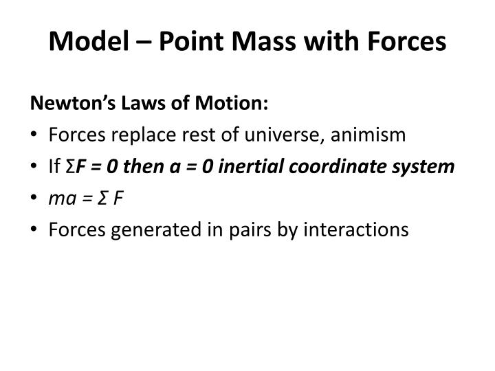 Model – Point Mass with Forces