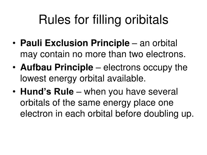 Rules for filling oribitals