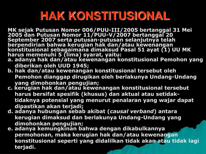 HAK KONSTITUSIONAL