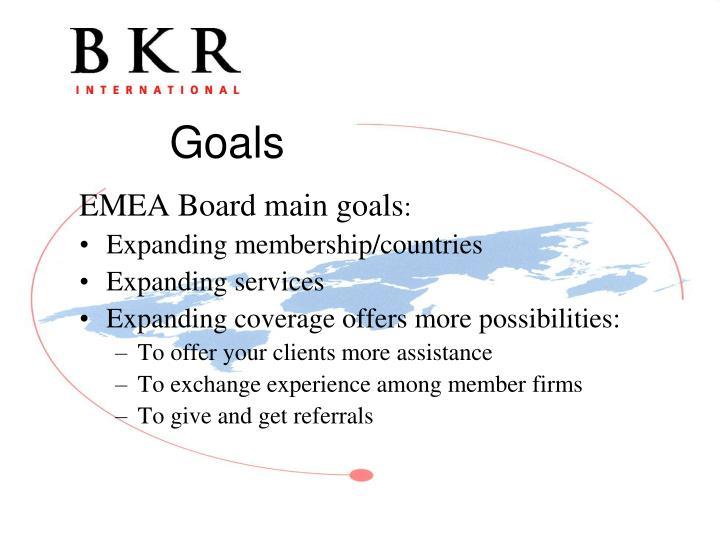 EMEA Board main goals