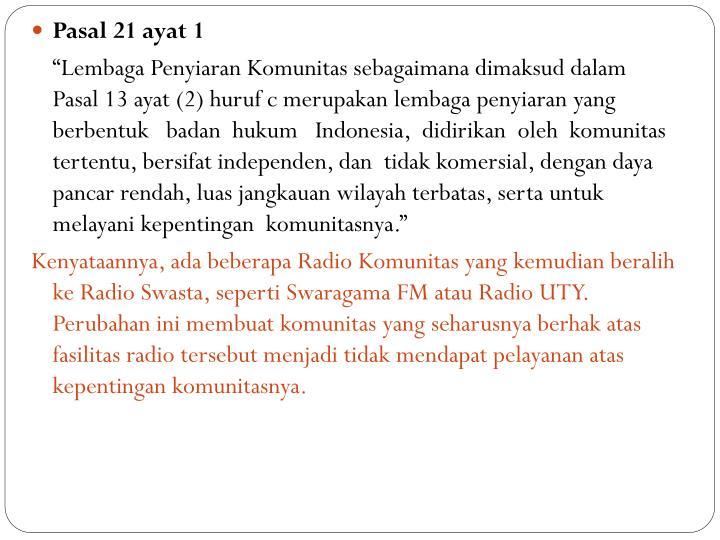 Pasal 21 ayat 1