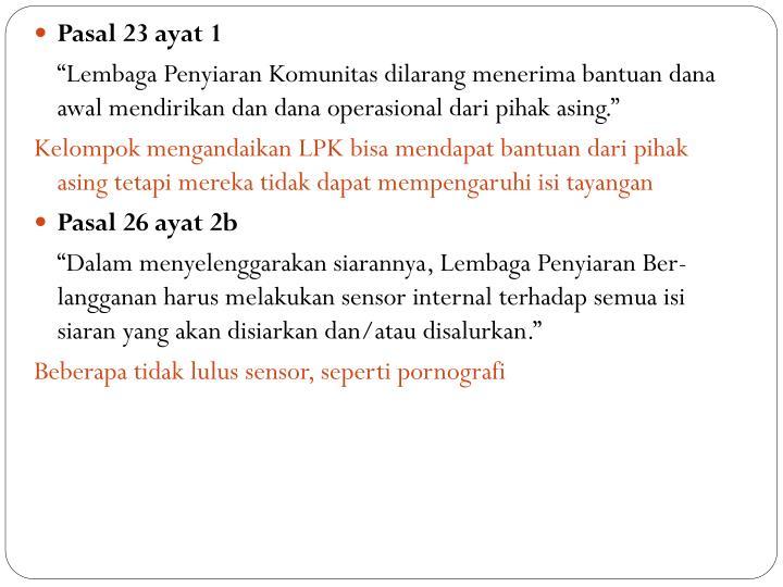Pasal 23 ayat 1
