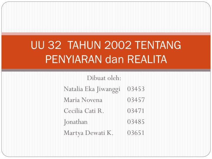 UU 32  TAHUN 2002 TENTANG PENYIARAN dan REALITA