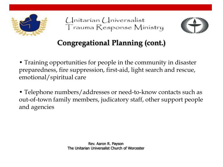 Congregational Planning (cont.)