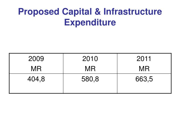 Proposed Capital & Infrastructure