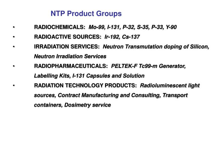 NTP Product Groups