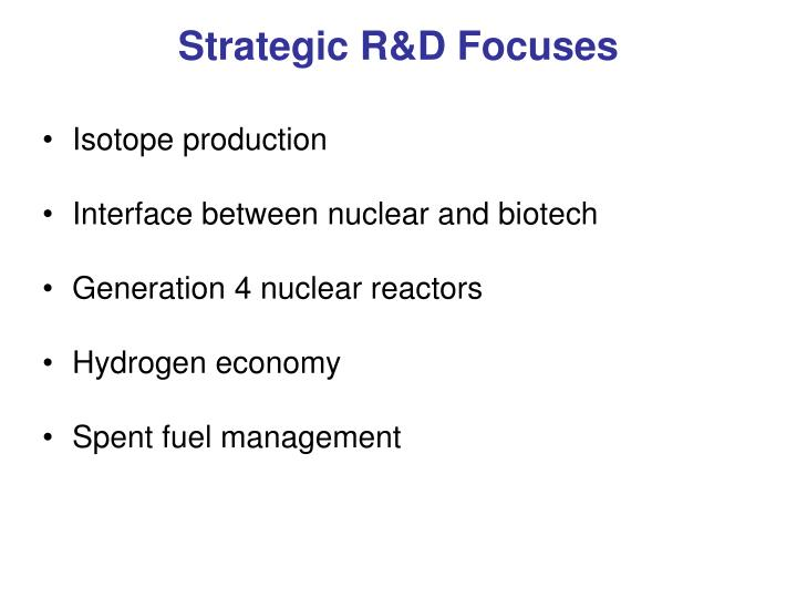 Strategic R&D Focuses