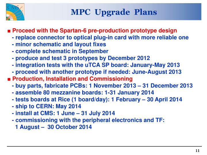 MPC  Upgrade  Plans