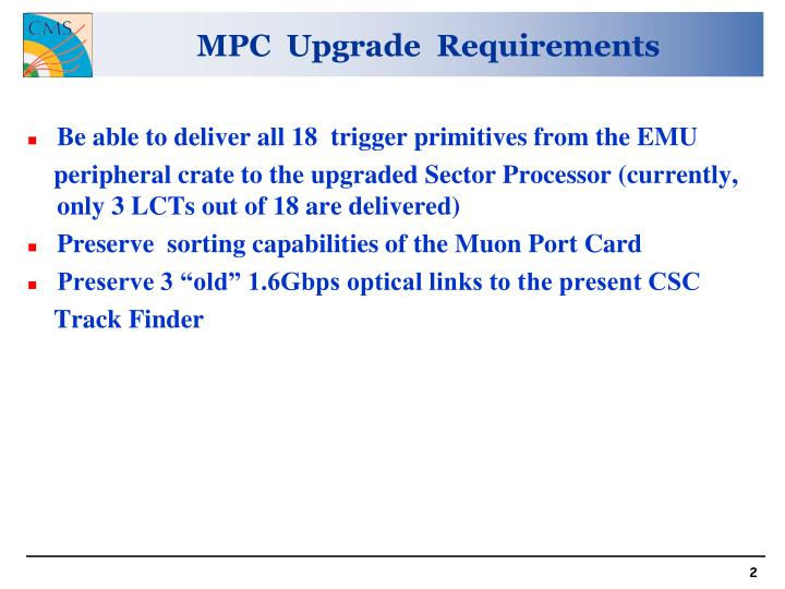MPC  Upgrade  Requirements