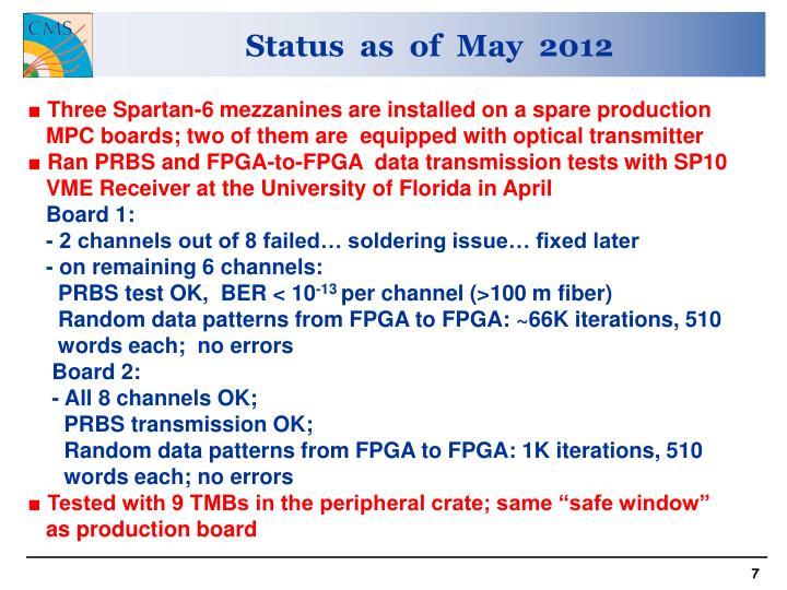 Status  as  of  May  2012