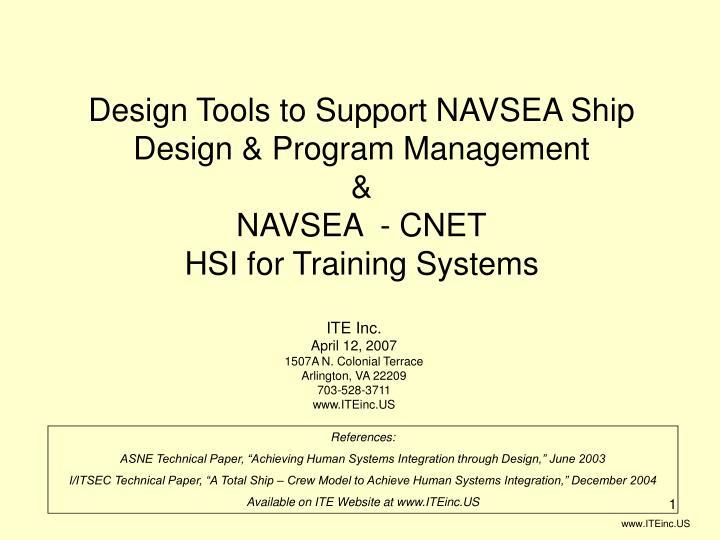 Design Tools to Support NAVSEA Ship Design & Program Management